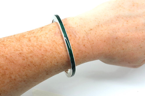 An Excellent Heavy Vintage Modernist 20th Century Sterling Silver Enamel Bangle