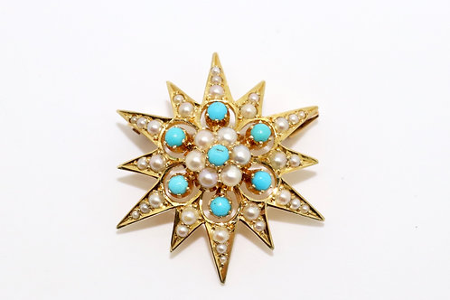 A Fine Antique Victorian 15ct 625 Yellow Gold Turquoise & Pearl Star Brooch