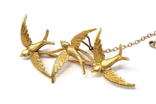 A Superb Antique Edwardian C1909 15ct Gold Sweetheart Flying Swallow Brooch