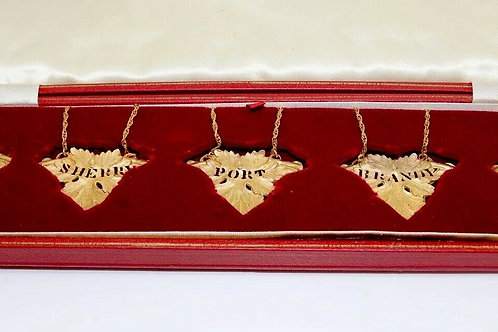 A Rare Vintage C1975 Set Of 5 9ct 375 Solid Gold Decanter Labels Gin Whisky Etc.