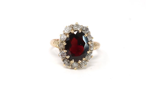 A Superb Antique Edwardian 14ct Gold Old Cut Diamond & Garnet Cluster Ring