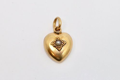 A Stunning Antique Victorian 15ct 625 Yellow Gold Heart Shaped Pearl Pendant