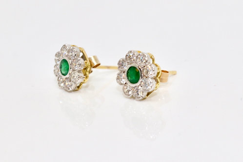 A Fine Modern Pair of 18ct White Gold Emerald & 0.80ct Diamond Cluster Earrings