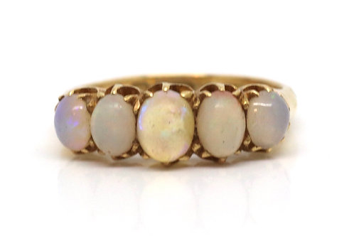 A Nice Antique Victorian 18ct Yellow Gold 3.40ct Five Stone Opal Ring #17327