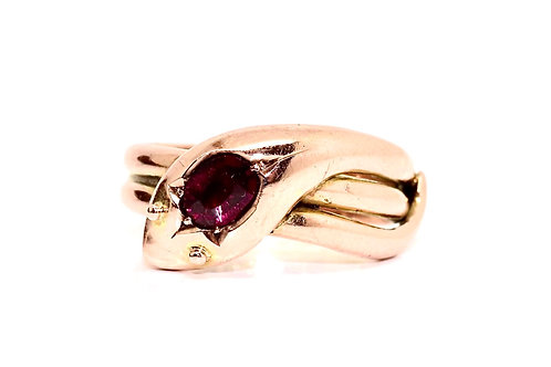 A Remarkable Antique Edwardian C1909 9ct 375 Rose Gold Garnet Snake Ring #15485
