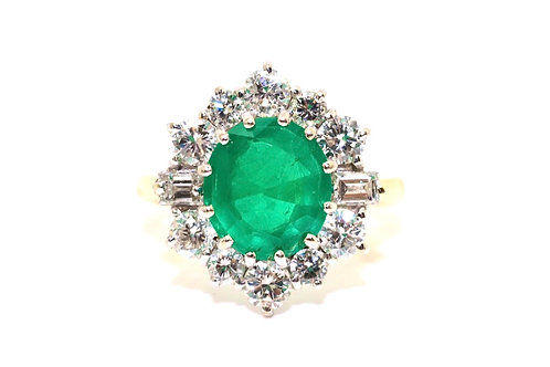 An Impressive Vintage 18ct Gold 2.30ct Emerald & 1.20ct Diamond Cluster Ring
