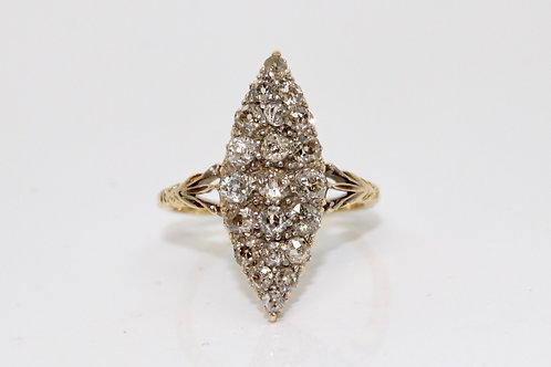 A Fine Antique Late Victorian 18ct 750 Gold 1.30ct Diamond Navette Marquise Ring