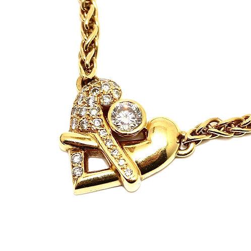 A Striking Vintage Boodles 18ct Gold 0.60ct Diamond Two Bird Pendant & Chain