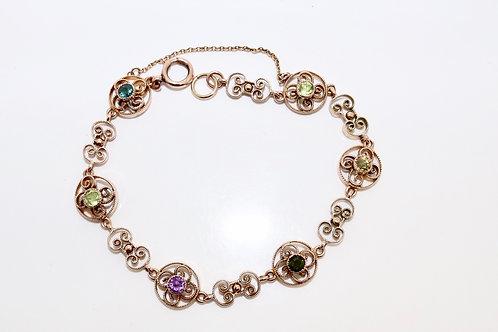 A Stunning Antique Late Victorian 9ct 375 Rose Gold Gem Set Bracelet