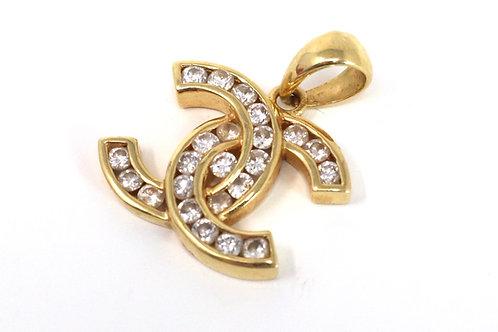 A Super Vintage 18ct 750 Yellow Gold Designer 0.94ct Diamond Pendant #23604
