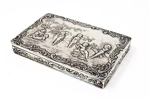 A Fine Antique C1913 Solid Silver Embossed Cherub Scene Box Boaz Moses Landeck