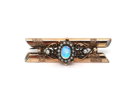 A Very Nice Antique Victorian European 14k Rose Gold Opal & Pearl Brooch #22953