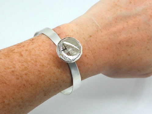 Delightful Vintage 1960's Scandinavian Alton Pege Quartz Sterling Silver Bangle