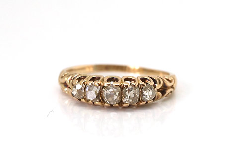 Very Nice Antique Victorian 18ct Gold 0.50ct Old Cut Diamond Half Eternity Ring