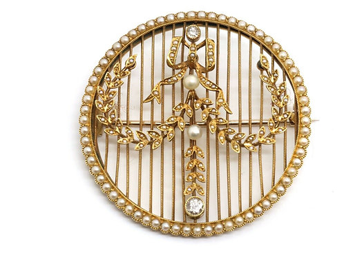 A Wonderful Antique Belle Epoque 15ct Gold Pearl & Diamond Swag Brooch