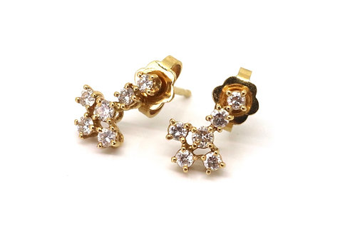 A Superb Pair of Vintage 18ct Yellow Gold Diamond Cluster Stud Earrings #23102