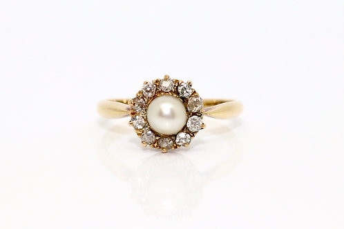 A Lovely Antique Edwardian 18ct 750 Yellow Gold Natural Pearl & Diamond Cluster