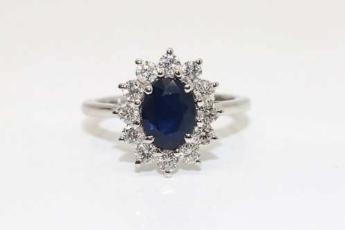 A Fantastic Modern 18ct White Gold 1.00ct Sapphire & 0.36ct Diamond Cluster Ring