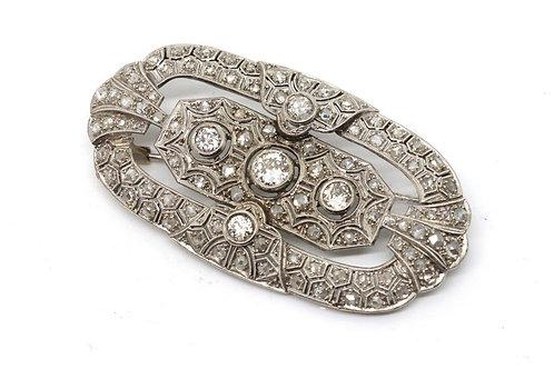 A Fantastic Antique Art Deco Platinum 950 2.50ct Diamond Cluster Brooch Pendant