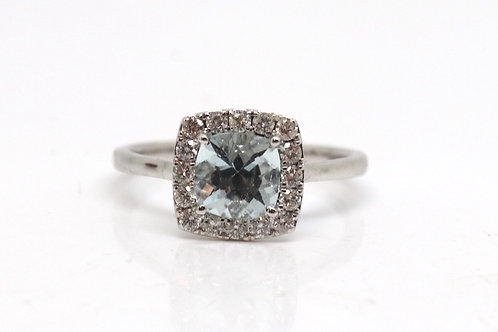 Stunning Art Deco Design 18ct 750 White Gold Aquamarine & Diamond Cluster Ring