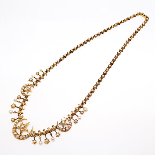 A Fine Antique Edwardian 15ct Yellow Gold Seed Pearl Star & Crescent Necklace