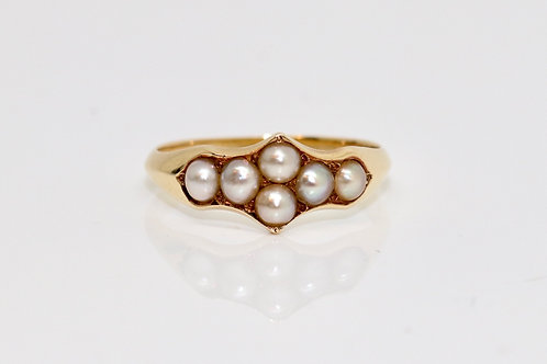 A Fine Antique Victorian C1870 18ct 750 Yellow Gold Split Pearl Cluster Ring