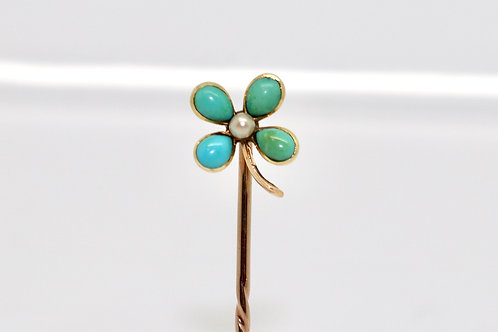 A Fine Antique Edwardian 15ct Gold Turquoise & Pearl Four Leaf Clover Stick Pin
