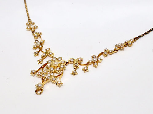 A Fantastic Antique Late Victorian 15ct Yellow Gold Pearl Fringe Necklace