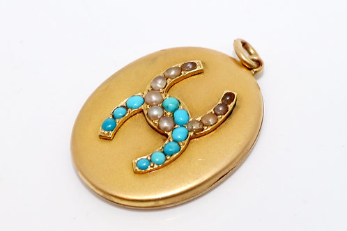 A Stunning Antique Victorian 15ct Yellow Gold Turquoise & Pearl Locket Pendant