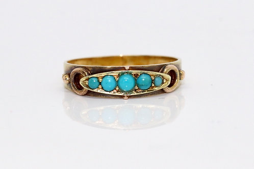 A Beautiful Antique Victorian 15ct 625 Yellow Gold Turquoise Row Ring