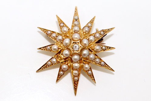 An Antique Victorian 18ct Yellow Gold Pearl & Diamond Star Burst Pendant Brooch