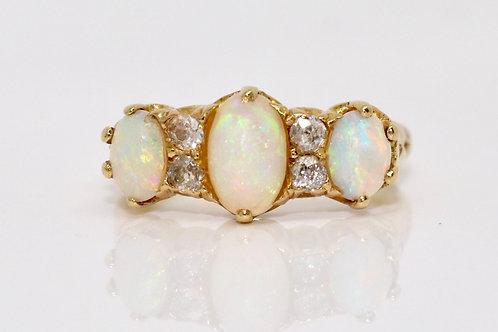 A Fine Antique Edwardian C1910 18ct Gold Fiery Opal & Diamond Three Stone Ring
