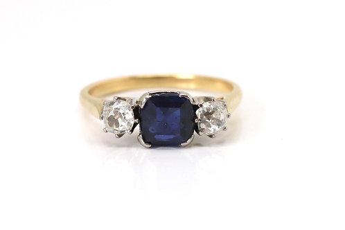 A Superb Vintage Art Deco 18ct Gold Sapphire & 0.50ct Diamond Three Stone Ring
