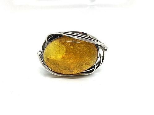 A Super Huge Vintage PS Designer 925 Sterling Silver Amber Bangle Bracelet