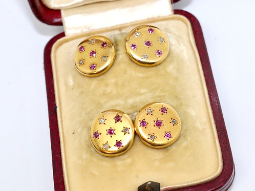 A Superb Set of Antique Victorian 18ct Gold Ruby & Rose Cut Diamond Cufflinks