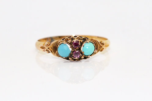 A Fine Petite Antique Mid Victorian 15ct 62 Rose Gold Turquoise & Ruby Ring