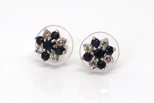 A Fine Pair of Mid 20th Century 18ct Gold Diamond & Sapphire Cluster Earrings