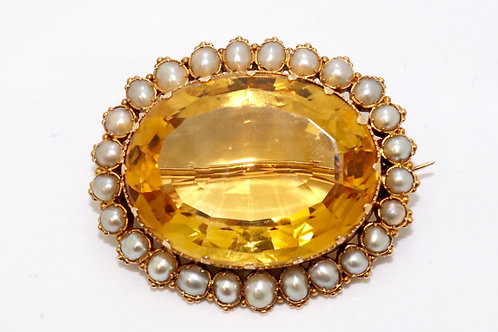 A Nice Large Antique Victorian C1850 15ct 625 Gold Citrine & Split Pearl Brooch