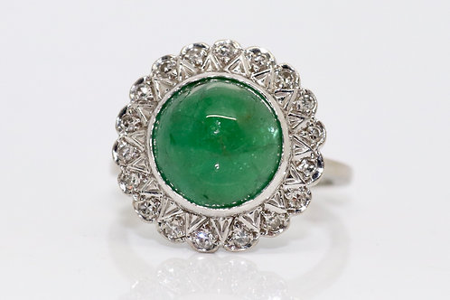 A Stunning Vintage 18ct White Gold Cabochon Cut Emerald & Diamond Cluster Ring