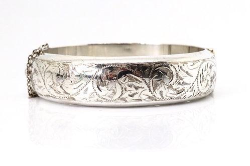 A Heavy Vintage C1957 Sterling Silver 925 Designer Engraved Bangle Bracelet 31g