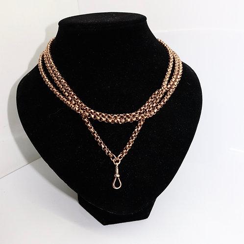 A Superb Heavy Antique Victorian 9ct 375 Rose Gold Gold Guard Muff Chain 44.7g