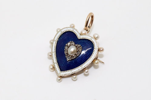 A Fine Antique Victorian 15ct Gold Enamel Pearl & Diamond Heart Pendant Brooch