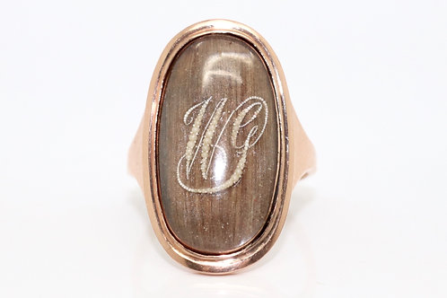 A Fine Antique Georgian C1790 15ct Gold Pearl Initialled WG Hair Mourning Ring