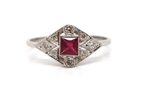 A Stunning Art Deco Style 18ct White Gold Ruby & Diamond Cluster Ring #17649