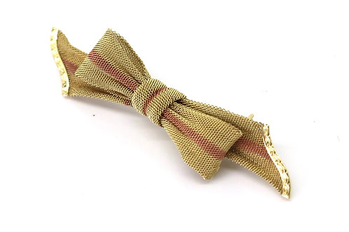 A Gorgeous Antique Edwardian 15ct Bi Coloured Gold Mesh Ribbon Brooch #23096