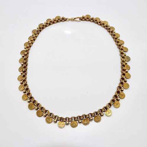 A Beautiful Antique Victorian Silver Gilt Coin Choker Necklace