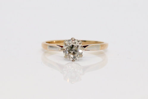 A Nice Vintage 18ct 750 Gold & Platinum 0.60ct Old Cut Diamond Solitaire Ring
