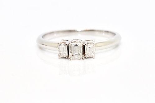 A Stunning 18ct White Gold 0.50ct Diamond Three Stone Emerald Cut Diamond Ring