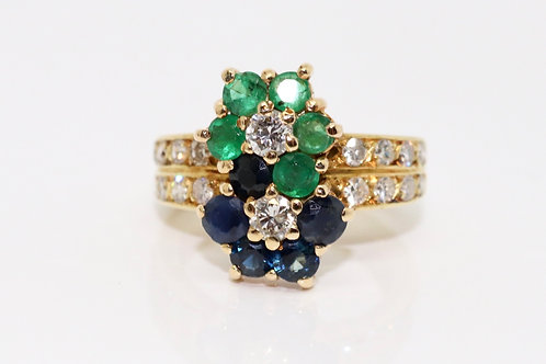 A Fine Modern 18ct 750 Gold Sapphire, Emerald & 0.50ct Diamond Cluster Ring