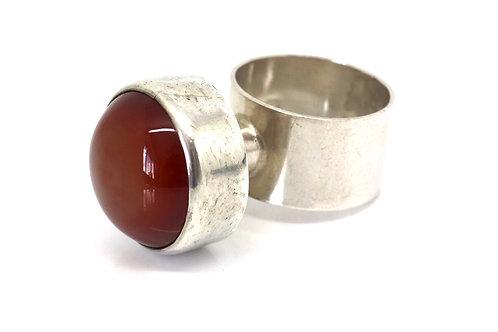 A Superb Vintage Mondernist C1973 Sterling Silver Agate Statement Ring #22830